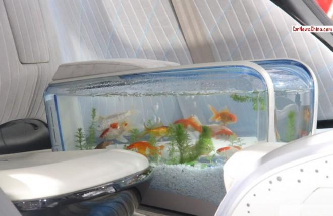 Instead, you can look at pretty fish inside. There's a well-designed  aquarium built into the backseat armrest.